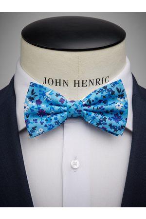 John Henric Blue Bow Tie Linen Floral