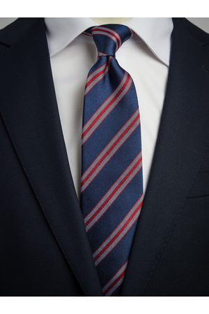 John Henric Man Slipsar - Blue & Red Tie Striped