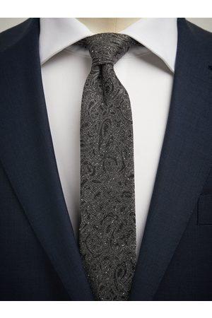 John Henric Man Slipsar - Grey Tie Paisley