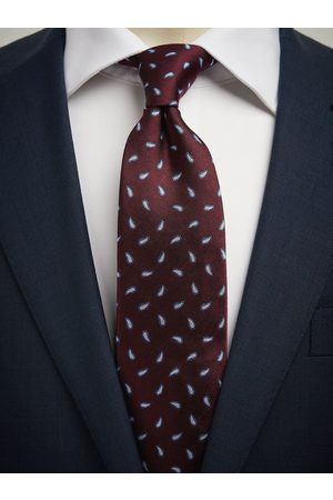 John Henric Man Slipsar - Burgundy Tie Small Paisley