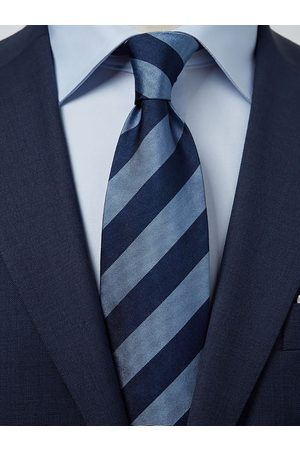John Henric Man Slipsar - Blue & Light Blue Tie Club Striped