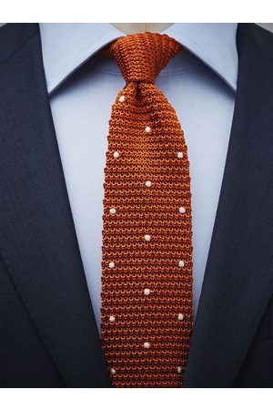 John Henric Man Stickade tröjor - Orange Knitted Tie