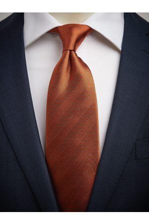 John Henric Orange Tie Herringbone