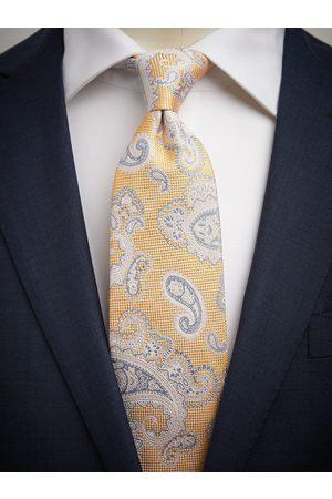 John Henric Yellow Tie Linen Paisley