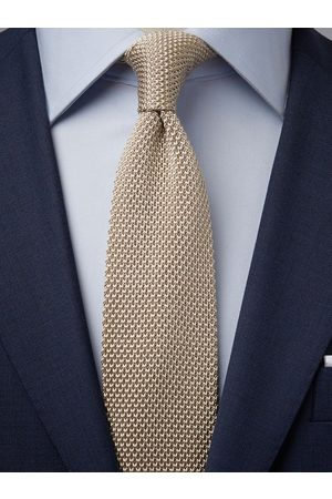 John Henric Beige Knitted Tie