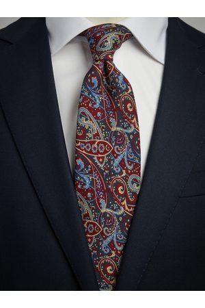John Henric Burgundy Tie Wool Paisley