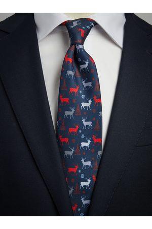 John Henric Blue & Red Christmas Tie