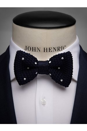 John Henric Man Flugor - Blue Knitted Bow Tie