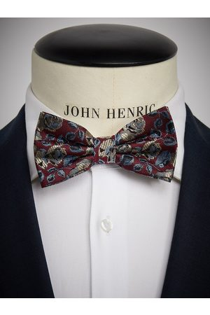 John Henric Burgundy Bow Tie Floral