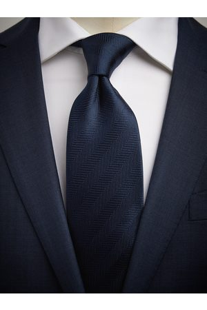 John Henric Dark Blue Tie Herringbone
