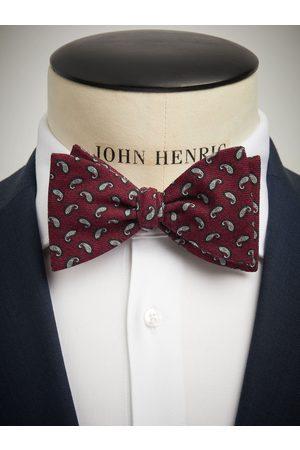 John Henric Man Flugor - Burgundy Bow Tie Wool Paisley