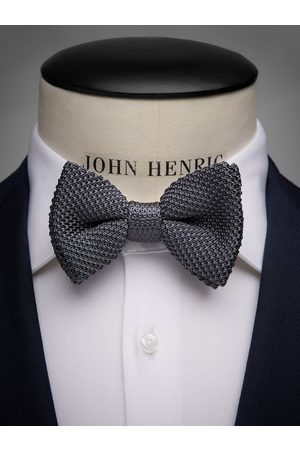 John Henric Man Flugor - Grey Knitted Bow Tie