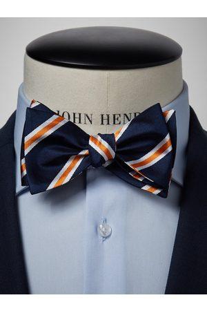 John Henric Man Flugor - Blue & Orange Striped Bow Tie