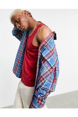 ASOS Man Casual skjortor - – Rutig långärmad skjorta i extra oversize, i collegestil med stadsbroderi