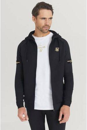 SikSilk Hoodie Exposed Tape Zip Through Jacket Svart