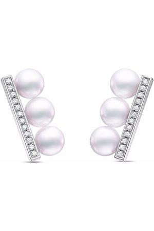 Tasaki Örhängen - Akoya örhängen i 18K vitguld med diamant och pärla