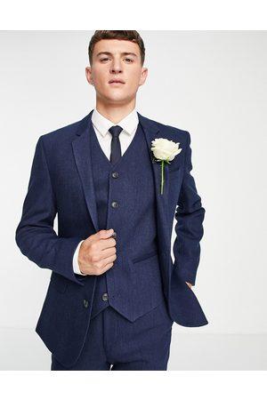 ASOS Wedding – Marinblå kavaj i ullblandning med fiskbensmönster och extra smal passform, del av kostym