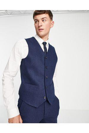 ASOS Wedding – Marinblå kostymväst i ullblandning med fiskbensmönster och extra smal passform