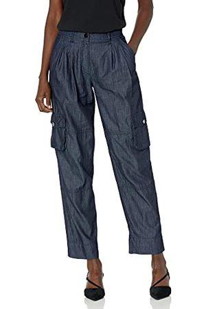 Armani Dam cargo, bellows fickor på sidan benet, metalliska knappar casual byxor, Indigo denim, L