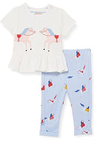 Joules Flicka Babyset - Flickans Olivia baby och småbarn t-shirt set, Vita hästar, 0-3 månader