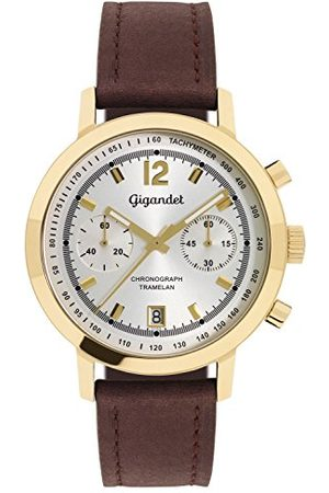 Gigandet Man Klockor - Herrarmbandsur kronograf kvarts analog läder mörkbrun tramelan G10-005