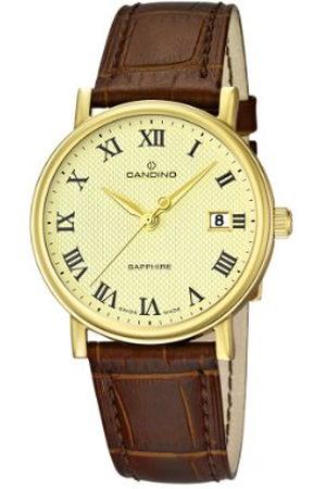 Candino Herr kvartsklocka med guldurtavla analog display och brunt läderrem C4489/4
