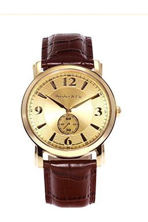 Boudier & Cie Kvartsklocka för män i schweizisk gjord rörelse med gyllene urtavla analog display och brunt läderrem BSSM203