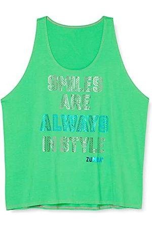 Zumba Fitness Löst grafiskt tryck dans fitness linne aktiva kläder träningstoppar tanktops, Gröna leenden, XL