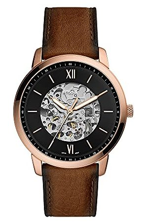 Fossil Man Klockor - Herr analog automatisk klocka med läderrem ME3195