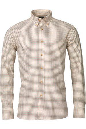 Laksen Man Långärmade skjortor - Pete Cotton/Wool Small Check Shirt Men´s
