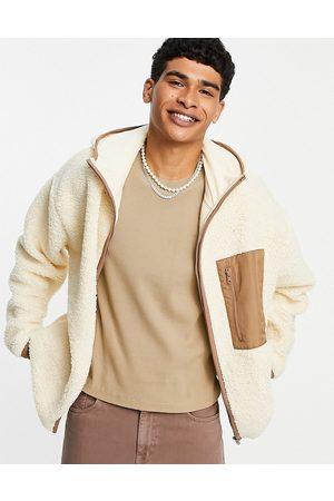 ASOS – Beige jacka i teddy och oversize med ficka-Naturlig