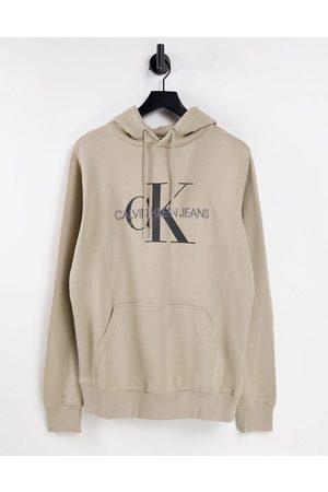 Calvin Klein – Stenfärgad huvtröja med monogramlogga-Naturlig
