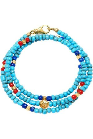 Nialaya Man Armband - The Mykonos Collection - Vintage Turquoise, Red, and Blue Glass Beads