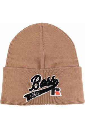 HUGO BOSS Logo-patch wool-blend beanie