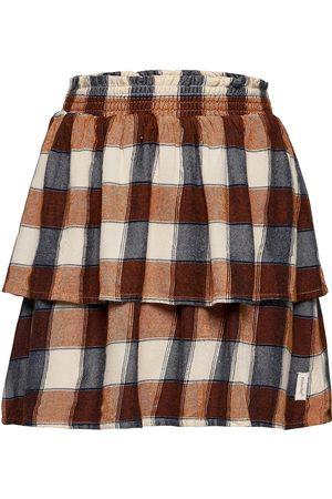 Minymo Skirt Check W/ Scrunchie Kjol Brun