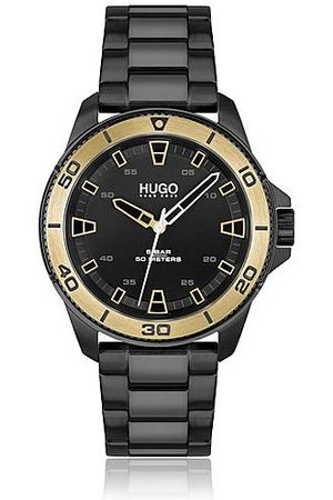 HUGO BOSS Black-plated watch with gold-toned bezel