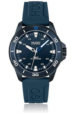 HUGO BOSS Blue-plated watch with branded silicone strap