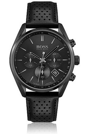 HUGO BOSS Black-plated chronograph watch with perforated leather strap