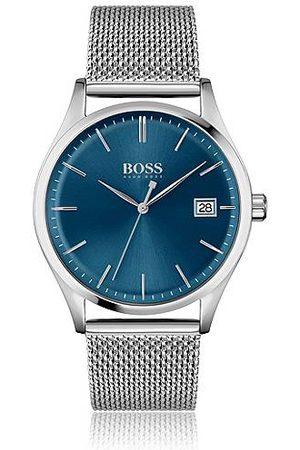 HUGO BOSS Blue-dial watch with mesh bracelet