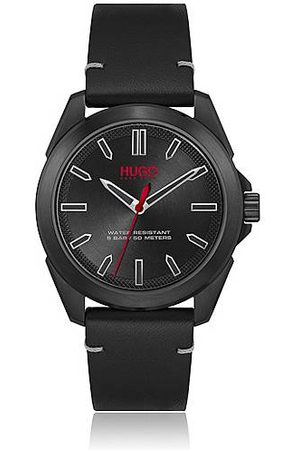 HUGO BOSS Black-plated watch with leather strap