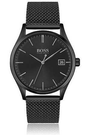 HUGO BOSS Black-plated watch with black dial and mesh bracelet