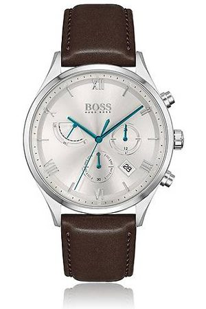 HUGO BOSS Leather-strap chronograph watch with silver-white dial