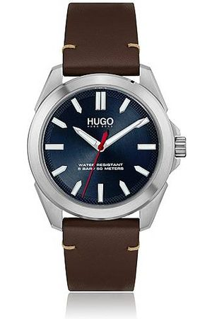 HUGO BOSS Brushed stainless-steel watch with blue dial and leather strap