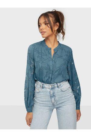 JACQUELINE DE YONG Kvinna Blusar - Jdyjovi L/S Shirt Wvn Vardagsblusar Aegean Blue