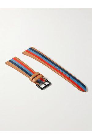 laCalifornienne Man Klockor - Blue Thunder Striped Leather Watch Strap