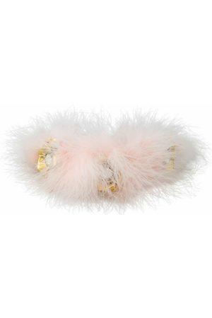 Dolce & Gabbana Fur Crystal Flowers Tiara Headband