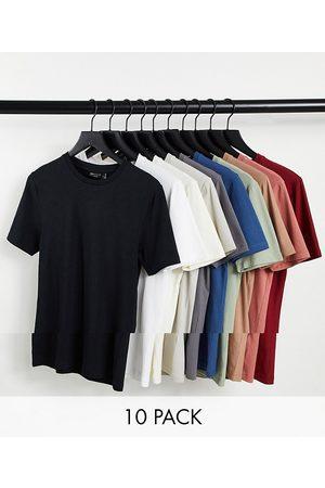 ASOS – T-shirt i ekologisk bomullsmix med rund halsringning och muscle fit, 10-pack-Flera