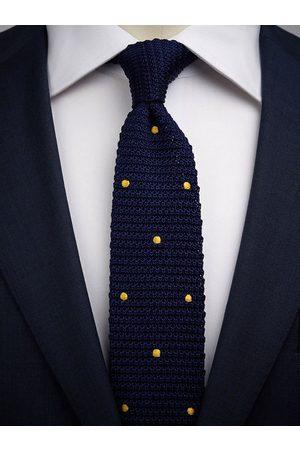 John Henric Man Stickade tröjor - Blue & Yellow Knitted Tie