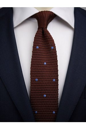 John Henric Brown & Blue Knitted Tie