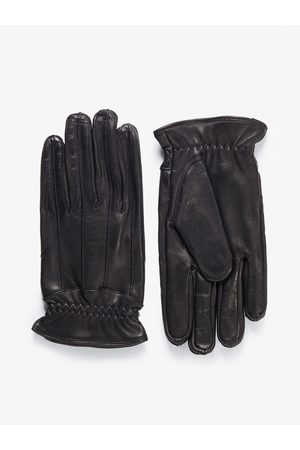 John Henric Man Handskar - Black Leather Gloves Zermatt